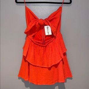 Woman's Boujee Red Mini Tie Strapless Dress L